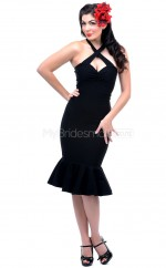 Black Knitwear Knee Length Vintage Bridesmaid Dresses (NZBD06924)