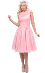 Candy Pink Tulle Knee Length Vintage Bridesmaid Dresses (NZBD06925)