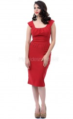 Red Satin Knee Length Vintage Bridesmaid Dresses (NZBD06931)