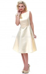 Champagne Satin Knee Length Vintage Bridesmaid Dresses (NZBD06941)