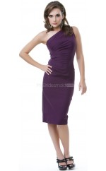 Grape Satin Knee Length Vintage Bridesmaid Dresses (NZBD06945)