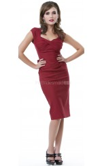 Burgundy Satin Knee Length Vintage Bridesmaid Dresses (NZBD06946)