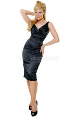 Black Stretch Satin Knee Length Vintage Bridesmaid Dresses (NZBD06951)