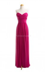 Vogue Fuchsia A Line Sweetheart Chiffon Long Bridesmaid Dresses (BSD024)