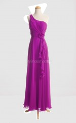Affordable Fuchsia A Line One Shoulder Chiffon Long Bridesmaid Dresses (BSD028)