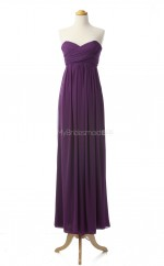 Elegant Grape A Line Sweetheart Chiffon Long Bridesmaid Dresses (BSD032)