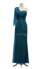 Best Selling Ink Blue A Line One Shoulder Chiffon Long Bridesmaid Dresses (BSD055)
