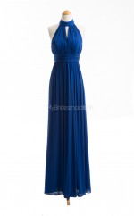 Gorgeous Royal Blue A Line Halter Chiffon Long Bridesmaid Dresses (BSD072)