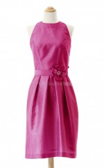 Affordable Watermelon A Line Jewel Taffeta Bridesmaid Dresses (BSD113)