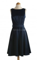 Elegant Dark Navy A Line Bateau Satin Bridesmaid Dresses (BSD132)
