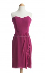 New Style Fuchsia Column/Sheath Sweetheart Chiffon Bridesmaid Dresses (BSD134)