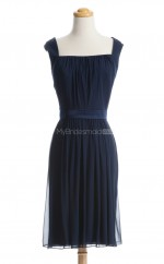 Vintage Dark Navy A Line Square Chiffon Bridesmaid Dresses (BSD145)