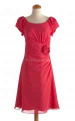 Exquisite Red A Line Scoop Chiffon Bridesmaid Dresses (BSD146)