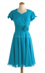 New Arrive Ocean Blue A Line Asymmetrica Chiffon Bridesmaid Dresses (BSD148)