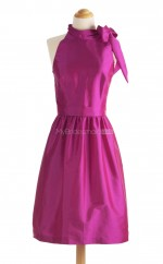 Luxurious Fuchsia A Line Halter Taffeta Bridesmaid Dresses (BSD164)