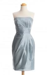 Best Selling Silver Column/Sheath Strapless Taffeta Bridesmaid Dresses (BSD170)