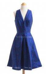 Vintage Royal Blue A Line V Neck Taffeta Bridesmaid Dresses (BSD172)