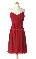 Amazing Watermelon A Line Strapless Chiffon Bridesmaid Dresses (BSD187)