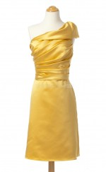 Stylish Yellow A Line One Shoulder Charmeuse Bridesmaid Dresses (BSD194)