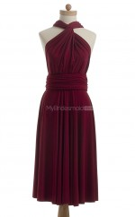 Formal Burgundy A Line Halter Chiffon Bridesmaid Dresses (BSD197)