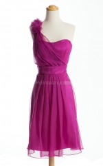 Gorgeous Fuchsia A Line One Shoulder Organza Bridesmaid Dresses (BSD201)
