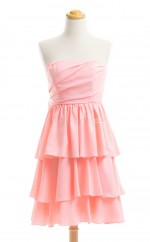 New Style Watermelon A Line Strapless Chiffon Bridesmaid Dresses (BSD202)