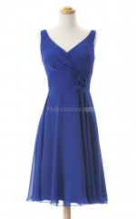Hot Sale Royal Blue A Line V Neck Chiffon Bridesmaid Dresses (BSD205)