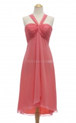 Pretty Watermelon A Line Halter Chiffon Bridesmaid Dresses (BSD207)