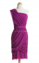 Elegant Fuchsia Column/Sheath One Shoulder Chiffon Bridesmaid Dresses (BSD220)