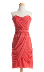 Luxurious Red Column/Sheath Strapless Chiffon Bridesmaid Dresses (BSD222)