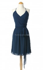 Amazing Dark Navy A Line Halter Chiffon Bridesmaid Dresses (BSD227)