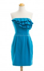 Discount Ocean Blue Column/Sheath Strapless Satin Bridesmaid Dresses (BSD235)