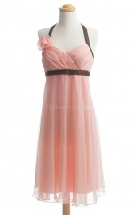 Hot Pearl Pink A Line Halter Chiffon Bridesmaid Dresses (BSD247)