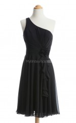 Hot Sale Black A Line One Shoulder Chiffon Bridesmaid Dresses (BSD252)
