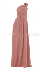 Custom Color Long Chiffon One Shoulder Bridesmaid Dress BSD287