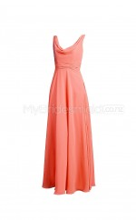 Custom Color Cowl Chiffon Long Bridesmaid Dress BSD340