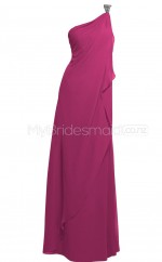 Custom Color One Shoulder Chiffon Long Bridesmaid Dress BSD350