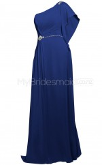 Custom Color One Shoulder Chiffon Long Bridesmaid Dress BSD370