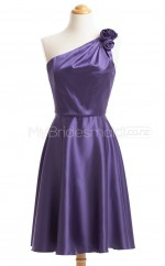 Custom Color One Shoulder Charmeuse Short Bridesmaid Dress BSD430