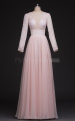 Pink A Line V Neck Long Bridesmaid Dresses with Long Sleeves(BSD454)
