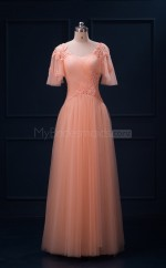 Tulle Long Sweetheart Neck Lace-up Bridesmaid Dresses with Short Sleeves(BSD455)