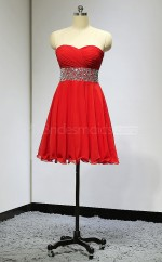 Red Lace-up Sweetheart Neck Short Bridesmaid Dresses(BSD460)