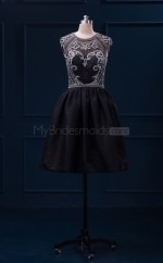 Black Short Taffeta A Line Bridesmaid Dresses(BSD462)