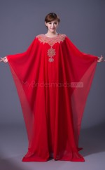 Red Long Chiffon Muslim Dresses with Long Sleeves(BSD468)