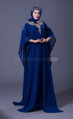 Blue A Line Long Muslim Dresses with Long Sleeves(BSD469)