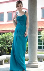 Long Ink Blue Semi-Formal Dress with Beadings and Pleats(GZNZ30627)