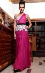 Burgundy One Shoulder Long Evening Gown(GZNZ30833)