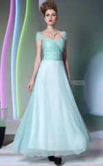 Long Blue Scalloped Graduation Dress with Capped Sleeves (GZNZ30888)
