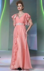 Watermelon V-neck Long Evening Dress with Short Sleeves (GZNZ30890)