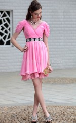 A-line Short Pink Formal Homecoming Dress with Short Sleeves(GZNZ6006)